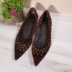 Zara Brown Suede Pointy Toe Flats Gold Grommets 40